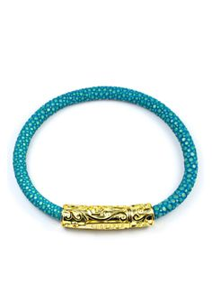 Women's Turquoise Stingray Bracelet with Gold Lock Turquoise Bracelet, 18k Gold, Plating, Beaded Bracelets, Sterling Silver, Leather, Jewelry, Jewlery, Jewerly
