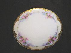 Haviland, Limoges Hand Painted Pink Blue Delicate Rose Floral With Gold  Plate #HavilandLimoges