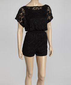 Take a look at this Black Lace Romper by Eros Apparel on #zulily today!
