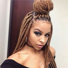 65 Box Braids Hairstyles for Black Women ❤ liked on Polyvore featuring hair, hairstyles, braids and african hair accessories