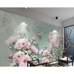 Floral Theme, Floral Wall, Living Room Themes, Tissue Paper Flowers, Butterfly Wallpaper, Cream Roses, Wall Murals, Mural Art, Wall Art