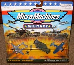 Micro Machines World War II Allied #18 Military Collection by Galoob Micromachines. $39.21. Micro Machines World War II Allied Military Set!. Custom Display Packaging!. The Original Scale Miniatures!  The approximate size of a Micro Machines vehicle is 1.5 inches long!. Includes P-38 Lightning Aircraft, Katyusha Missile Truck with Flip-Up Launcher, F-4U Corsair Aircraft and 2 Special Forces Troops!. From the Military Classic Series!. Produced by Galoob in 1997. Rare. The approxim...