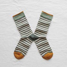 Bonne Maison socks made in France Green stripes