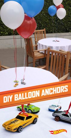 awesome of July party needs balloons. Hot Wheels cars are great for keeping them there.Every awesome of July party needs balloons. Hot Wheels cars are great for keeping them there. Disney Cars Birthday, Race Car Birthday, Race Car Party, Birthday Fun, Birthday Ideas, Third Birthday, Race Cars, Disney Cars Party, Birthday Banners