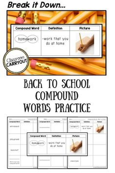 Break Down Compound Words Back To School Style Teachers Love To Use This Free Product For A Mini Lesson Compound Word Review Homework And For