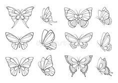 Dainty Tattoos, Mini Tattoos, Cute Tattoos, Flower Tattoos, Body Art Tattoos, Small Tattoos, Butterfly Outline, Simple Butterfly, Butterfly Tattoo Designs