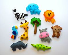 Felt Safari Animals , Magnets - Monkey ,Hippo , Giraffe , Palm tree , Lion ,  Elephant , Parrot , Zebra , Crocodile , Rhino , Baby Toy