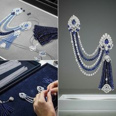 「 An outstanding display of design and craftsmanship, this captivating double sapphire brooch conceals a secret watch in a masterful and dynamic display of… 」