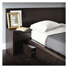 West Elm West Elm Storage Bed Nightstand, Left, Chocolate-Stained... ($100) ❤ liked on Polyvore featuring home, furniture, storage & shelves, nightstands, storage furniture, chocolate brown furniture, drawer furniture, west elm and dark brown furniture