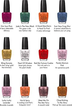 Timtam: OPI Hong Kong Collection ~ Spring 2010 (part Opi Nail Polish Colors, Opi Colors, Nail Polish Sets, Opi Nails, Nail Colour, Shellac, Manicures, Colours, Opi Collections