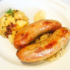 """Not all #sausages are created equal. The #bratwurst from Cafe Sabarsky is definitely one of the better ones. Serves over Riesling #sauerkraut and #potato salad"" Photo taken by @yi_reservation on Instagram, pinned via the InstaPin iOS App! http://www.instapinapp.com (06/15/2015)"