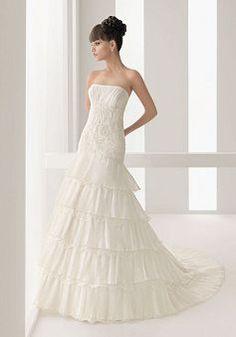 Informal A line Strapless Tulle Spring Chapel Train Wedding Dress - 1300100177B - US$294.49 - BellasDress
