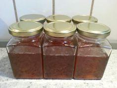 Æblegelé med mynte og vanilje Vanilje, Preserves, Pickles, Mason Jars, Dessert, Homemade, Cream, Recipes, Foods