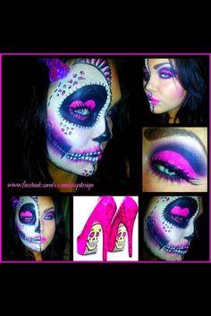 Halloween Makeup: Leopard Sugar Skull Day of the Dead Shoe Inspired Halloween Skull, Halloween Make Up, Halloween Face Makeup, Halloween Ideas, Halloween Costumes, Rockabilly, Skull Shoes, Sugar Skull Makeup, Sugar Skulls