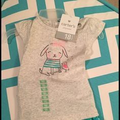 Girls outfit Grey tee shirt with green with white dots skirt! Brand new with tags! Carters Other
