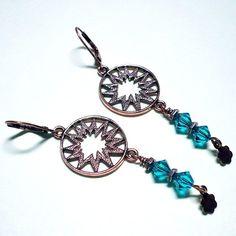 Swarovski Blue Zircon Antique Copper Sunburst Chandelier Earrings