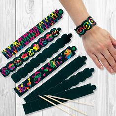 BUY NOW: Scratch Art Bracelets Funky bracelets to personalise and wear. Create a design by simply scratching onto the specially coated surface to reveal rainbow colours. Only £2.99 (pack of 12)