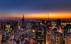 Download HD Desktop wallpaper: New York skyline at sunset from high above
