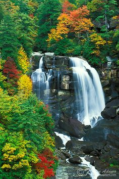 ~~Autumn view of Whitewater Falls on Whitewater River in Nantahala National Forest, North Carolina by KAdamsPhoto.com~~