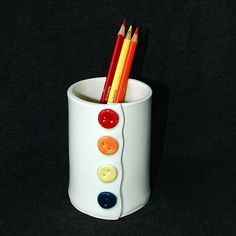 Button Ceramic Pottery Pencil Holder Cup Vase. $24.00, via Etsy.