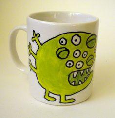 Hand Painted Mug Green Eyed Monster by MaddiesMinions