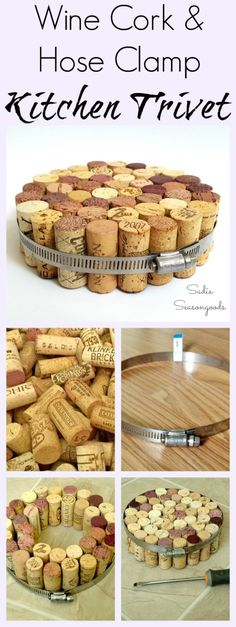 Want to do the easiest upcycle / repurpose project ever? Gather your collection of wine corks (everyone has a stash- no shame!) and either a hose clamp (duct clamp) from the hardware store or an embroidery hoop, and create a unique, functional trivet for your kitchen. I use mine ALL THE TIME, and it only takes minutes to make. This is a safe and fun project for kids to make, too! #SadieSeasongoods / www.sadieseasongoods.com