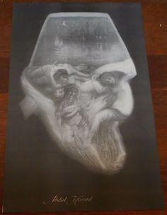 Nude skull female girl OPTICAL ILLUSION metamorphic sketch drawing photo print