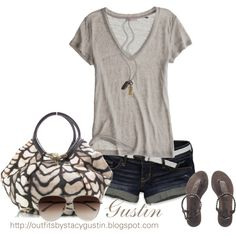 Loving this bag! tan t shirt, created by stacy-gustin