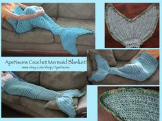 Crochet mermaid tail fin blanket leg warmer.