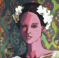 "White Wreath, Original 12""x12"" Acrylic on canvas"