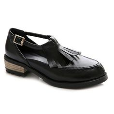 T-Strap Stitching Fringe Flat Shoes Flat Shoes, Oxford Shoes, T Strap Flats, Cheap Shoes, Toe Shape, Womens Flats, Stitching, Dress Shoes, Loafers