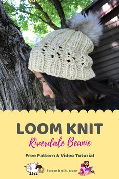 Loom Knit: Riverdale Beanie Create a fun beanie with lace stitches using this p. Loom Knit: Riverdale Beanie Create a fun beanie with lace stitches using this pattern. Round Loom Knitting, Loom Knitting Projects, Loom Knitting Patterns, Knitting Blogs, Hand Knitting, Knitting Tutorials, Vintage Knitting, Stitch Patterns, Knitting Machine