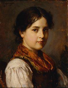 Franz von Defregger (Austrian, 1835-1921). Bavarian Girl, 1911. Charles and Emma Frye Collection, 1952.033