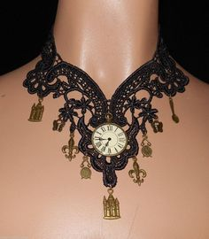 Necklace in Black N Brass Venise Lace Large Neo Victorian Steampunk Clock Antiqued Choker NEW by Medievaltomodern Wearable Art Runway Style by medievaltomodern on Etsy