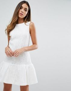 Warehouse Bonded Lace Peplum Dress