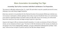 Hass Associates Accounting Tax Tips http://www.ajc.com/weblogs/atlanta-bargain-hunter/2014/feb/03/tax-tips-7-reasons-file-early/ Accounting Tips by Hass Associates Individual and Business Tax Preparation  http://hassassociates.org/