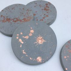 Set of 4 Copper / rose gold splatter concrete cement coasters by OtisIndigo on Etsy https://www.etsy.com/uk/listing/450392674/set-of-4-copper-rose-gold-splatter