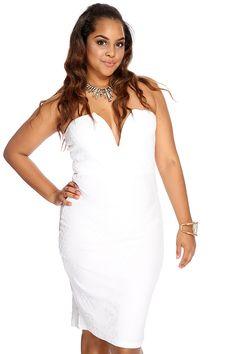 White V Shape Plunge Neck AMI Plus Party Dress