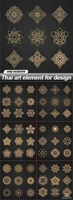 Thai art element for design - 6 EPSYou can find Thai art and more on our website.Thai art element for design - 6 EPS Mandala Design, Mandala Art, Henna Designs, Designs To Draw, Tattoo Designs, Tattoo Ideas, Elements Of Art, Design Elements, Design Art