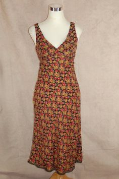 Betsey Johnson Shift Dress M Black Floral Print 100% Silk Sleeveless #BetseyJohnson #Shift