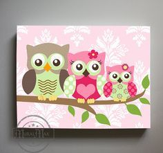 Owl Decor S Wall Art Canvas Nursery Childrens Room