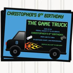 Game truck party invite