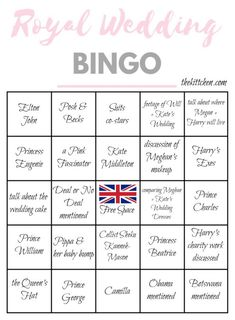 Royal Wedding Bingo Card 4 - Print these 4 different bingo cards and play Royal Wedding Bingo as you watch Prince Harry marry Meghan Markle - via thekittchen