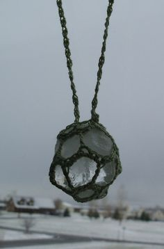 Crocheted Quartz Crystal Neckalce FREE by TheTreeFolkHollow, $35.00