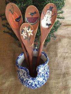 4 Primitive Seansonal Wooden Utensil Jar Fillers Crow Snowman Watermelon Pumpkin #PrimitiveCountry