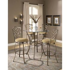 Hillsdale Furniture 4815PTBSHR5 Brookside 5 Pieces Bistro Set with Hanover Barstools