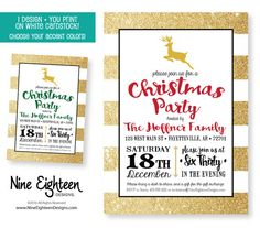 Christmas Party invitation. Gold and black by NineEighteenHolidays
