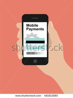 Modern flat design illustration, hand hold smart phone, online banking concept