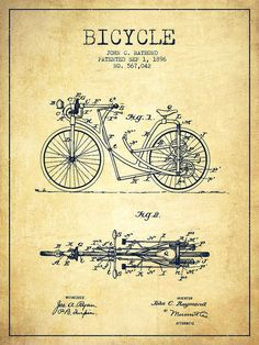 Bicycle Patent Poster featuring the drawing Bicycle Patent Drawing From 1896…