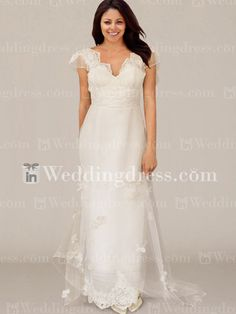 Organza V-Neck Cap Sleeve Wedding Dress with Lace Appliques BC695N